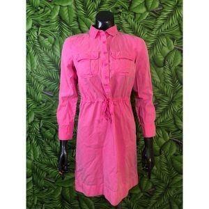J. Crew Garment Dyed Drawstring Shirtdress Pink 00